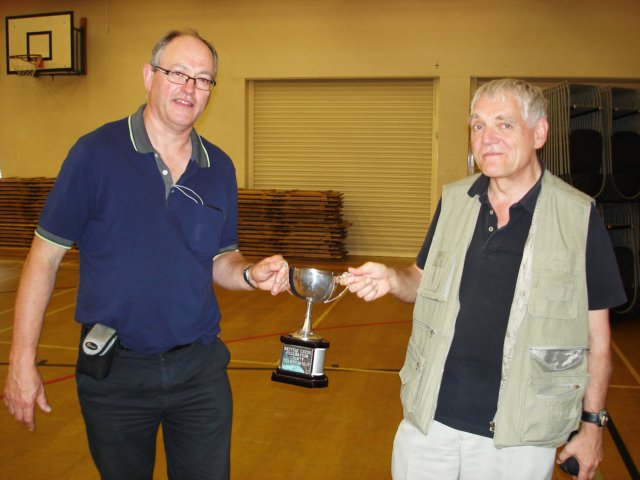 Guy Greenland and Peter Leggett with the ECF Country Championship final (U120) trophy